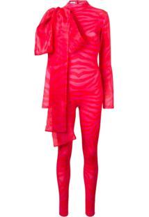 Atu Body Couture Macacão Slim Com Detalhe De Laço - Vermelho