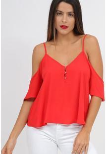 Blusa Com Vazados & Botãµes- Vermelha- Tritontriton