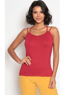 Blusa Lisa Com Alças Cruzadas- Vermelha- Max Glammmax Glamm
