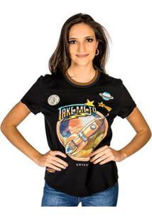 80a2794c02 ... Camiseta Estampada Aplicação Colcci - Feminino-Preto