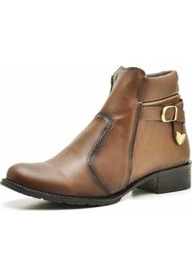 Bota Cano Curto Snap Shoes Caramelo