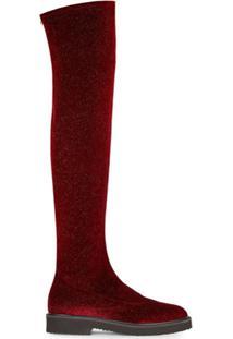 Giuseppe Zanotti Bota Over-The-Knee De Veludo - Vermelho