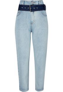 Calca Clochard Straight Cinto (Jeans Claro, 42)