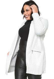 Casaco Gris Plus Tricot Texturas Branco