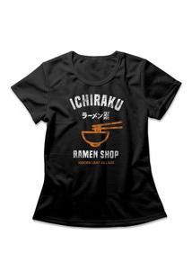 Camiseta Feminina Naruto Ichiraku Ramen Shop Preto
