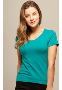 Camiseta Babylook Verde Gola V
