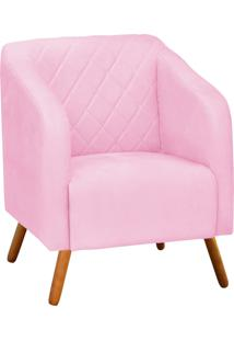 Poltrona Decorativa Silmara Suede Rosa Bebê Pés Palito - D'Rossi