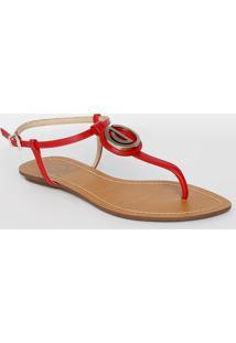 Sandália Rasteira Com Tag - Vermelhadumond
