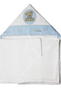 Toalha De Banho De Felpa Aveludada Com Capuz Forrada De Fralda+Minha Casa Baby+Tbf5021+Urso Bolacha Azul,