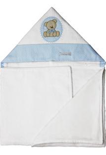 Toalha De Banho De Felpa Aveludada Com Capuz Forrada De Fraldaminha Casa Babytbf5021Urso Bolacha Azul