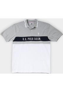 Camisa Polo U.S. Assn Piquet Frisos Plus Size Masculina - Masculino-Mescla