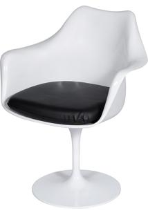 Poltrona Saarinen Com Braço E C/ Almofada – Or Design - Branco / Preto
