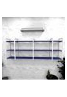 Estante Industrial Escritório Aço Cor Branco 180X30X68Cm (C)X(L)X(A) Cor Mdf Azul Modelo Ind34Azes