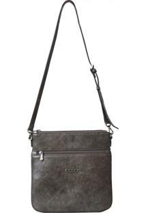 Bolsa De Couro Recuo Fashion Bag Transversal Selvagem Cinza