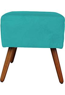 Puff Quadrado Jéssica Decor Magazine Suede Azul Tiffany