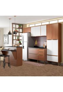 Cozinha Compacta Com Tampo 13 Portas 5464 Nogueira/Branco - Multimóveis