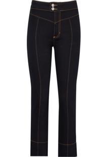 Calca Cropped Straight Pala (Jeans Black Escuro, 50)