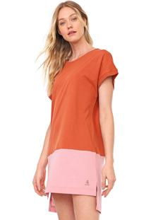 Vestido Cantão Curto Color Block Laranja/Rosa