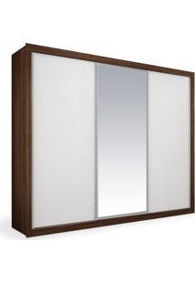 Armário 3 Portas De Correr Com Espelho, Ipê Com Branco, Premium Plus 2,76M