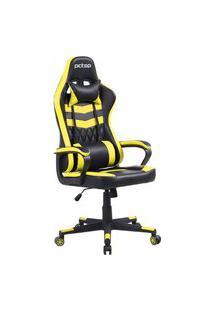 Cadeira Gamer Elite Reclinável Com 2 Almofadas Pctop Se1010 Amarela