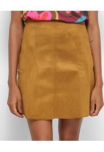532383fa53 ... Saia Cantão Mini Suede Cintura Alta - Feminino-Caramelo+Amarelo
