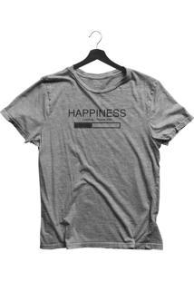 Camiseta Jay Jay Básica Happiness Loading Cinza Mescla Dtg