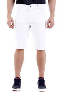 Bermuda Sarja Masculina Max Denim - Branco