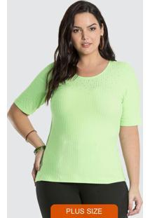 Blusa Malha Canelado Traxy Verde