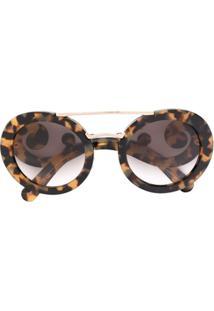 ... Prada Eyewear Óculos De Sol Armação Estampada - Marrom 631b17f87c