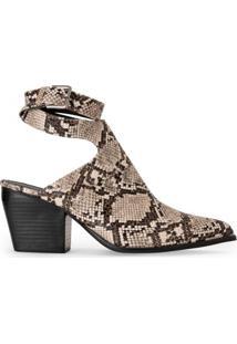 Amaro Feminino Ankle Boot Bico Fino Fivela, Cobra Light Tan