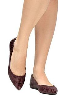 Sapatilha Shoestock Bico Fino Croco - Feminino