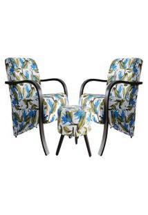 Kit 2 Poltronas Decorativas Azul Tropical Com 1 Puff