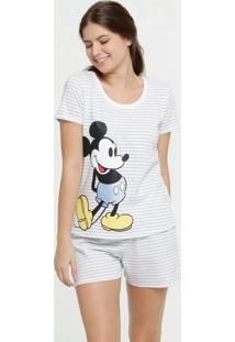 Pijama Feminino Listrado Estampa Mickey Manga Curta Disney