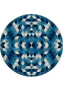 Tapete Love Decor Redondo Wevans Abstrato Azul 94Cm