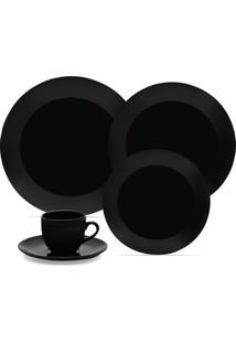 Aparelho De Jantar E Chá Coup 30 Peças Em Porcelana Preto Oxford