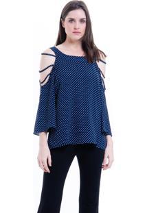 Blusa 101 Resort Wear Tunica Crepe Ombros Vazados Azul Bolinhas Brancas