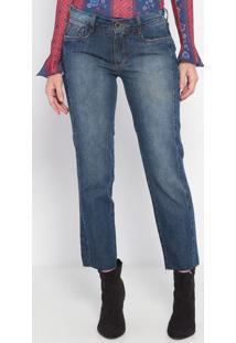 Jeans Flare Com Recorte- Azul Escuro- Ennaenna