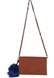 Bolsa Retangular Clutch Me Mostarda Com Pompom Azul