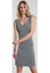 Vestido Feminino Curto Estampado Geométrico Alça Larga Preto