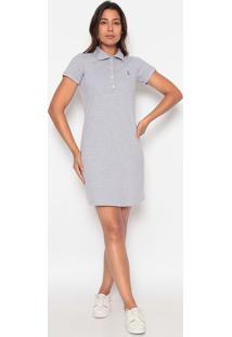 Vestido Reto Com Bordado - Cinza Claro & Azul Escuroclub Polo Collection