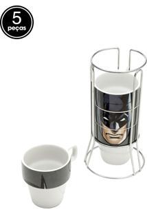 Jogo Xícaras De Café 5Pçs Porcelana Cappuccino Wb Jl Core Batman Face Preto 11X9X21Cm 225Ml Urban