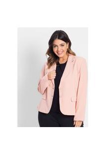 Blazer Alfaiataria Feminino Secret Glam Rosa