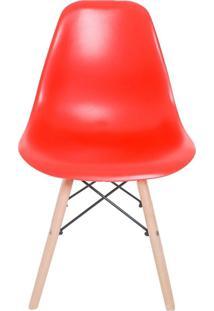 Cadeira Facthus Eiffel Charles Eames Em Abs Com Base De Madeira Dsw Vermelho