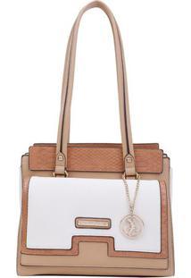 Bolsa Com Bag Charm- Salmã£O & Branca- 28X30X14Cmfellipe Krein