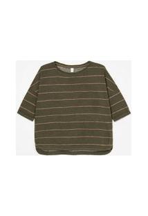 Blusa Ampla Com Listras Em Fio Metalizado | Marfinno | Verde | Gg