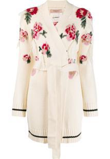 Twin-Set Cardigã De Tricô Floral - Branco