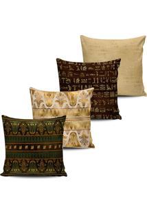 Kit 4 Capas Almofadas Etnica Egito Marrom E Dourado 45X45Cm