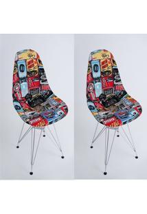 Kit Com 02 Capas Para Cadeira Eiffel Charles Eames Wood Estama Carros, Oficina