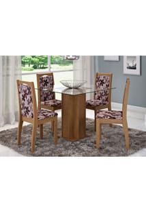 Mesa Para Sala De Jantar Sophia Com 4 Cadeiras Lívia Savana/Floral Bordô - Cimol Móveis