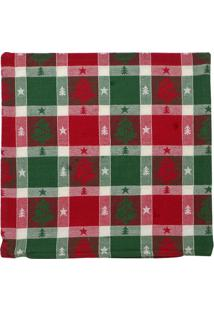 Capa De Almofada Natal Quadriculada- Vermelha & Verde